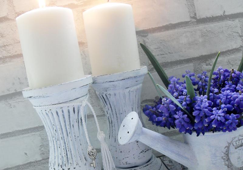 gipsowe postarzane świeczniki