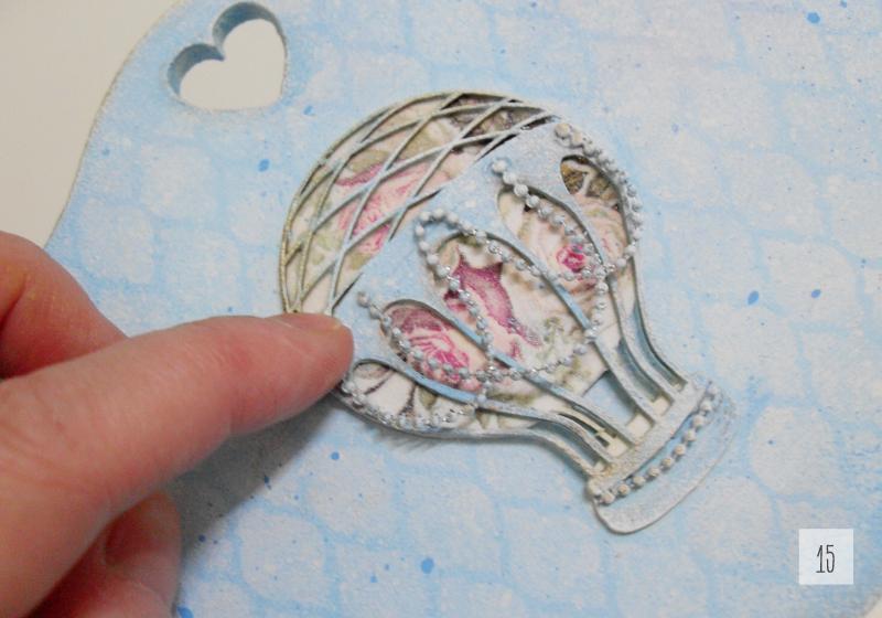błękitna skrzyneczka shabby chic z balonem decoupage