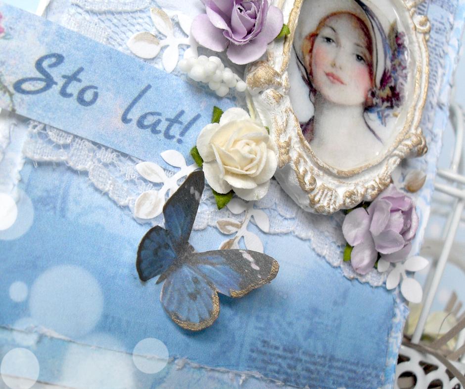 romantyczna kartka tagowa z portretem w stylu shabby chic