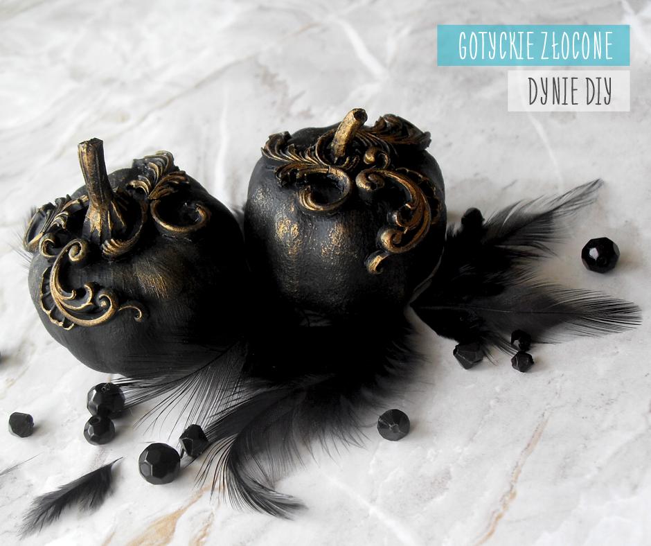 czarne gotyckie złocone dynie diy z dekorami