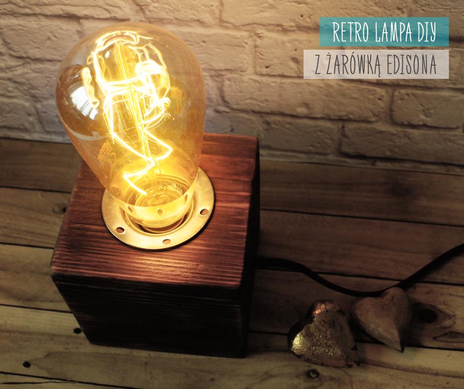 retro industrialna lampa diy z opalanego klocka drewna z żarówką edisona